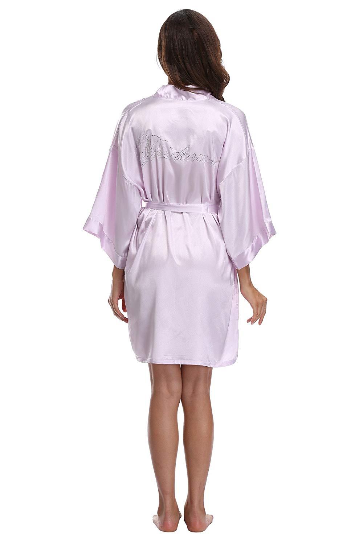 a25643629 Get Quotations · Women Satin Kimono Robe for Bride Bridesmaid Maid of Honor Silk  Wedding Robe Various Colors