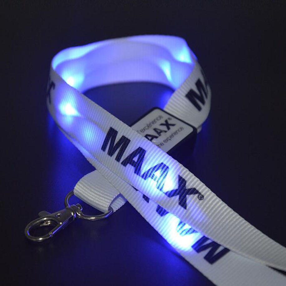 Cheap LOGO Printing LED Polyester Lanyard With Hook
