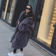 2019 Nieuwe Vrouwen Winter Coat Thicken Lange Hooded Faux Fur Teddybeer <span class=keywords><strong>Jas</strong></span>