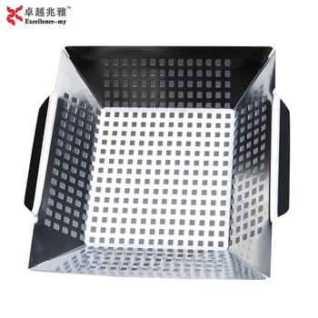 Easy Clean Good Grip Square Stainless Steel Vegetable Charcoal Bbq Grill Basket Wok