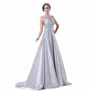 New Design Sweetheart Silver A-line Crystal Sequins Women Evening Dinner Gown 2018