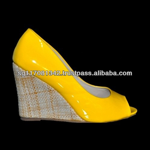 Fashion Yellow Leatherette Peep Toe Wedge Women Shoes