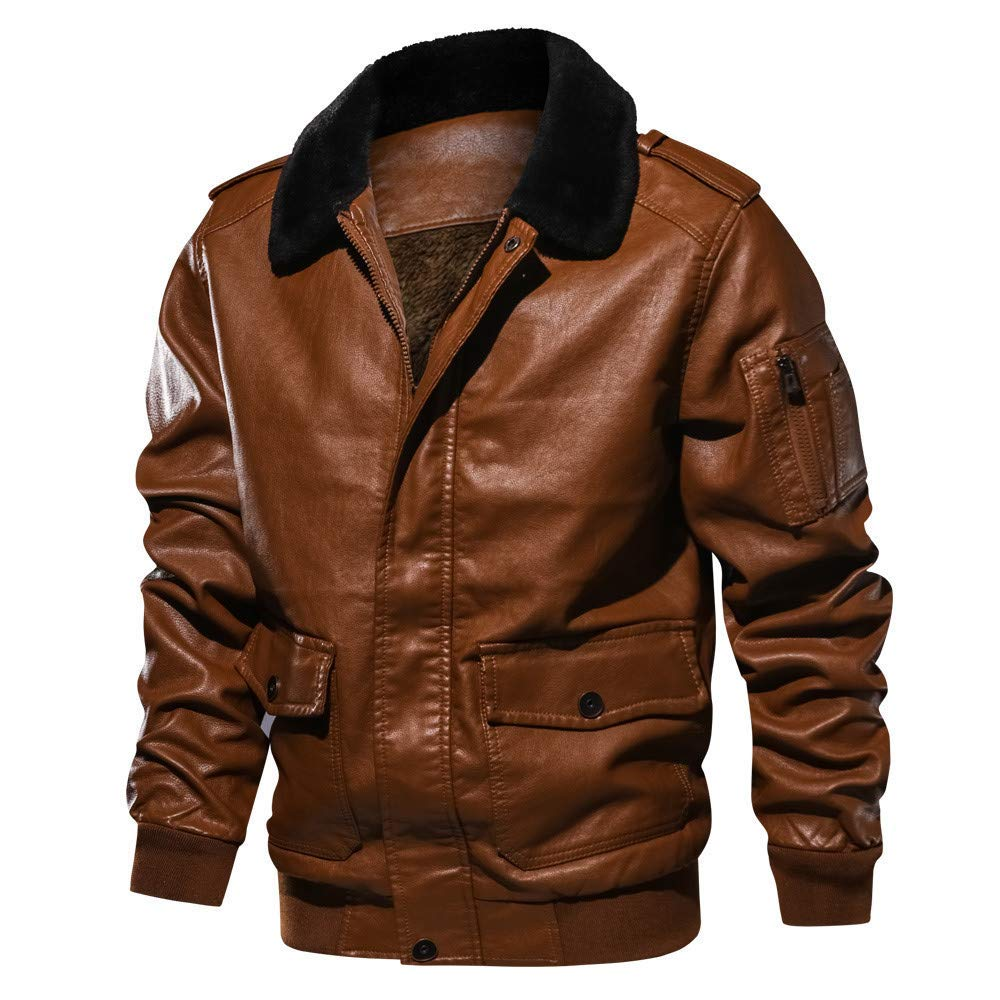 Mens Biker Jacket,Winter Warm Lapel Fur Collar Leather Bomber Jacket Zipper Tactical Pullover Coat Zulmaliu