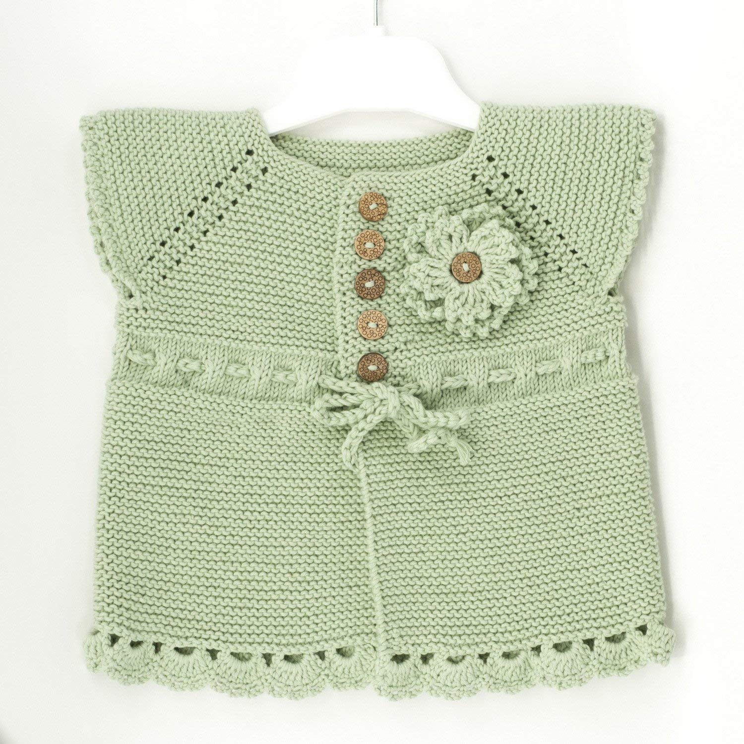 Hand Knitting Baby Girl Sweater Set for Summer - 3 Pieces - 100% Organic Cotton