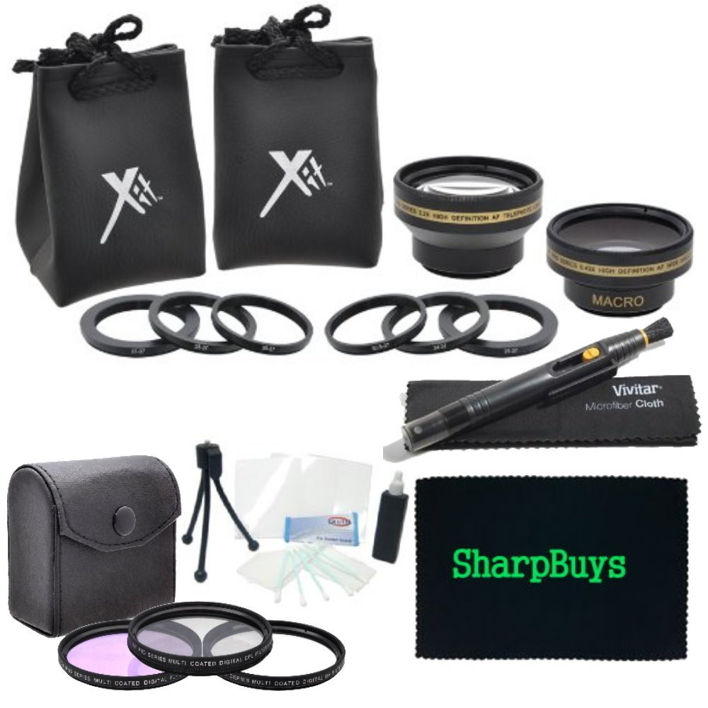 37mm Filter and Lens Complete Combo Package For The Sony DCR-SX85 Handycam Camcorder - PACKAGE INCLUDES: 37mm Pro Series Multi-Coated 3 Piece Digital Filter Kit (UV-CPL-FLD) Filters, 37mm 0.43X HD Wide Angle & 2.2X HD Telephoto Lenses With Case & Pouches & Lens Cleaning Pen, Cleaning Kit, Screen