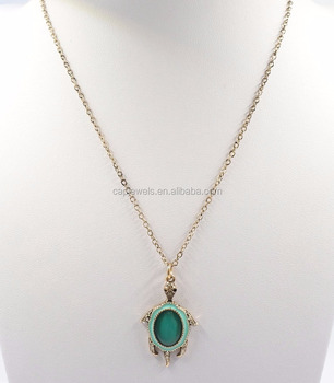 22f2d76578b Tortoise Animal Pendant Emerald Color Gold Plated Necklace - Buy ...