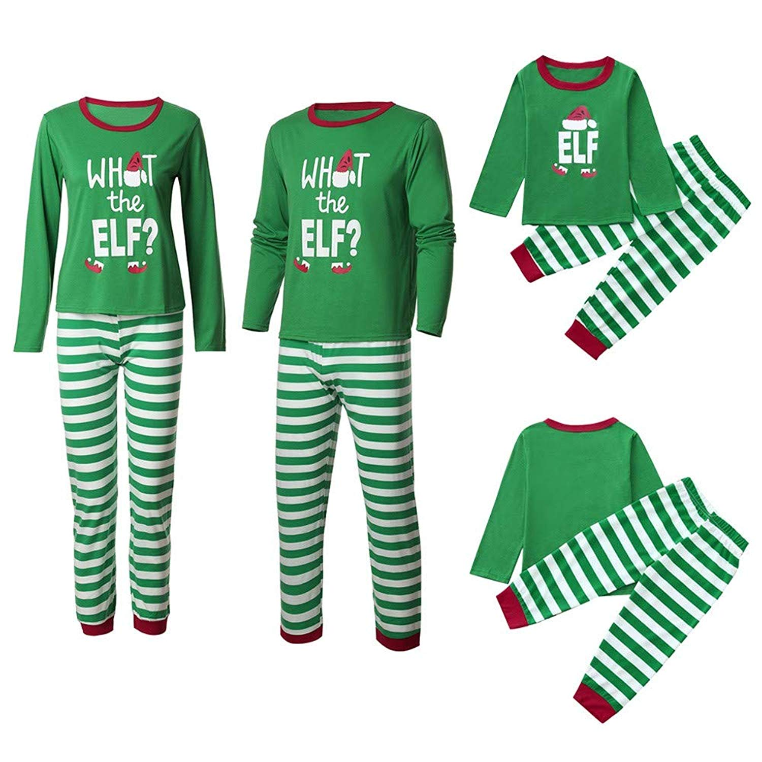 4716c26bbd Get Quotations · Family Matching Pajamas Sets Christmas Pajamas Outfit  Striped Letter Holiday Clothes PJ Sets Mom Dad Kids