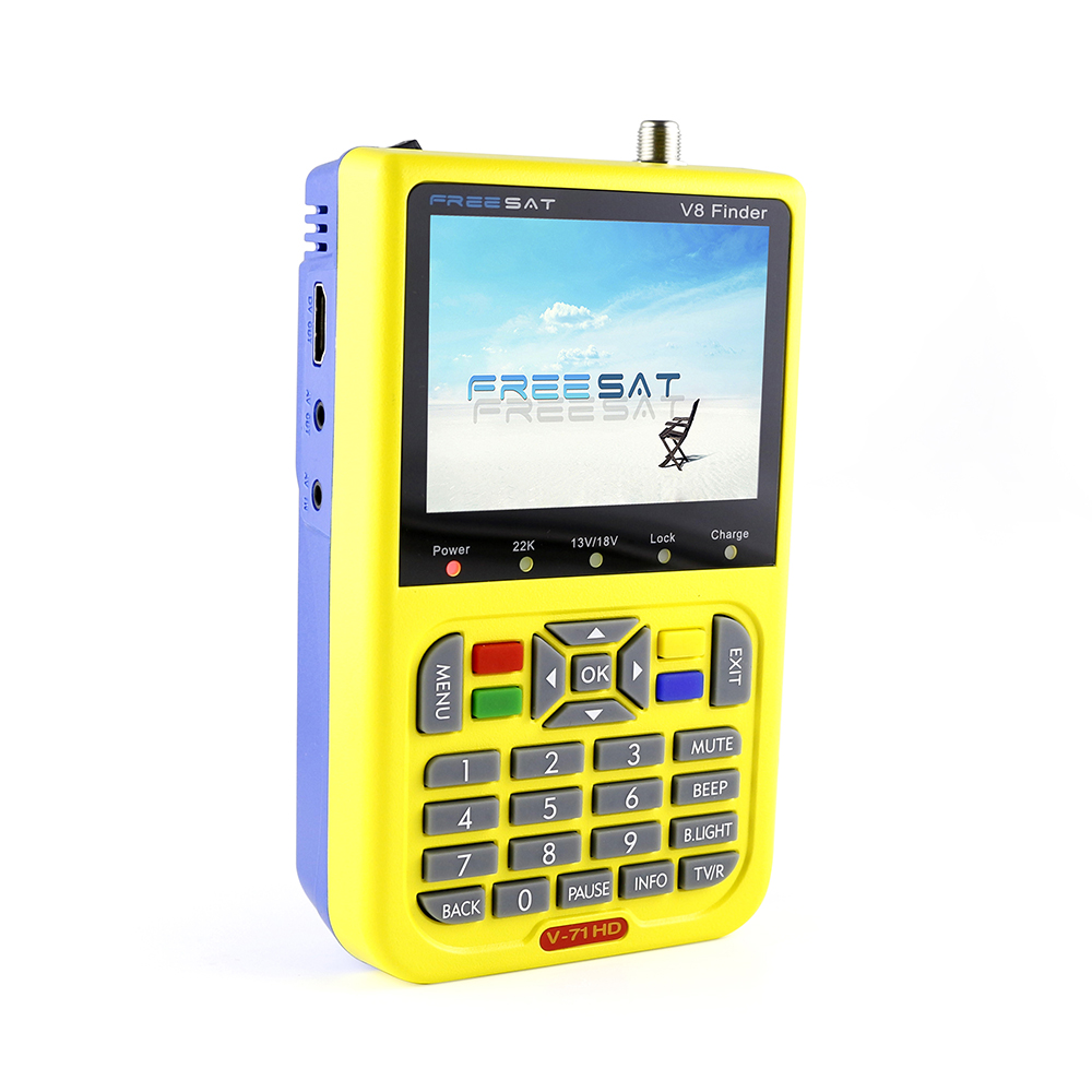 Strong professional handheld dvb s2 hd digital hd satellite signal satellite finder combo meter freesat v8 lcd display