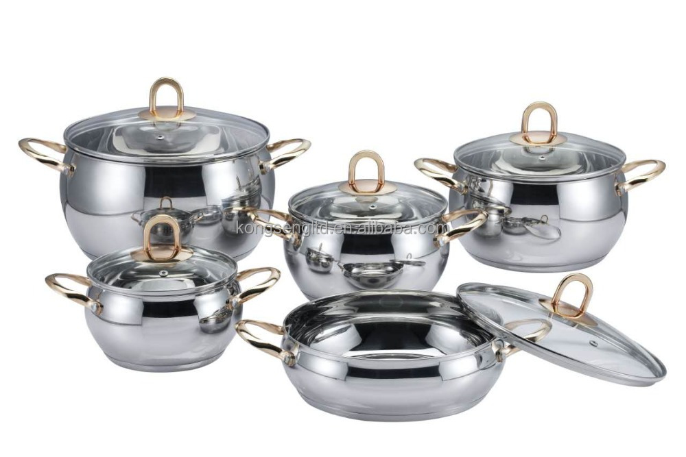 high quality of 10pcs apple shape stainless steel cookware set with induction bottom and copper plating handle