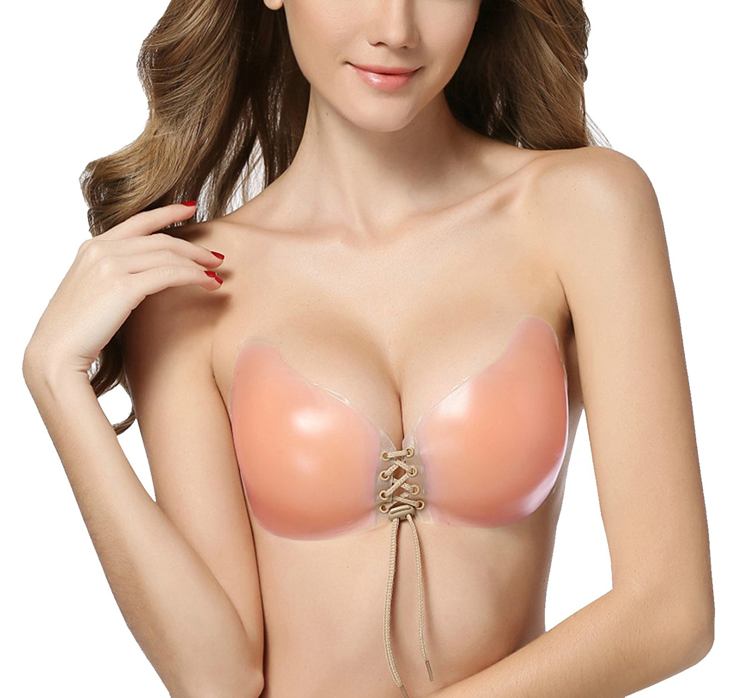 5341673a8149f Get Quotations · ZuLves Adhesive Bra Strapless Invisible Bra Push-up  Silicone Sexy Bra with Drawstring for Women