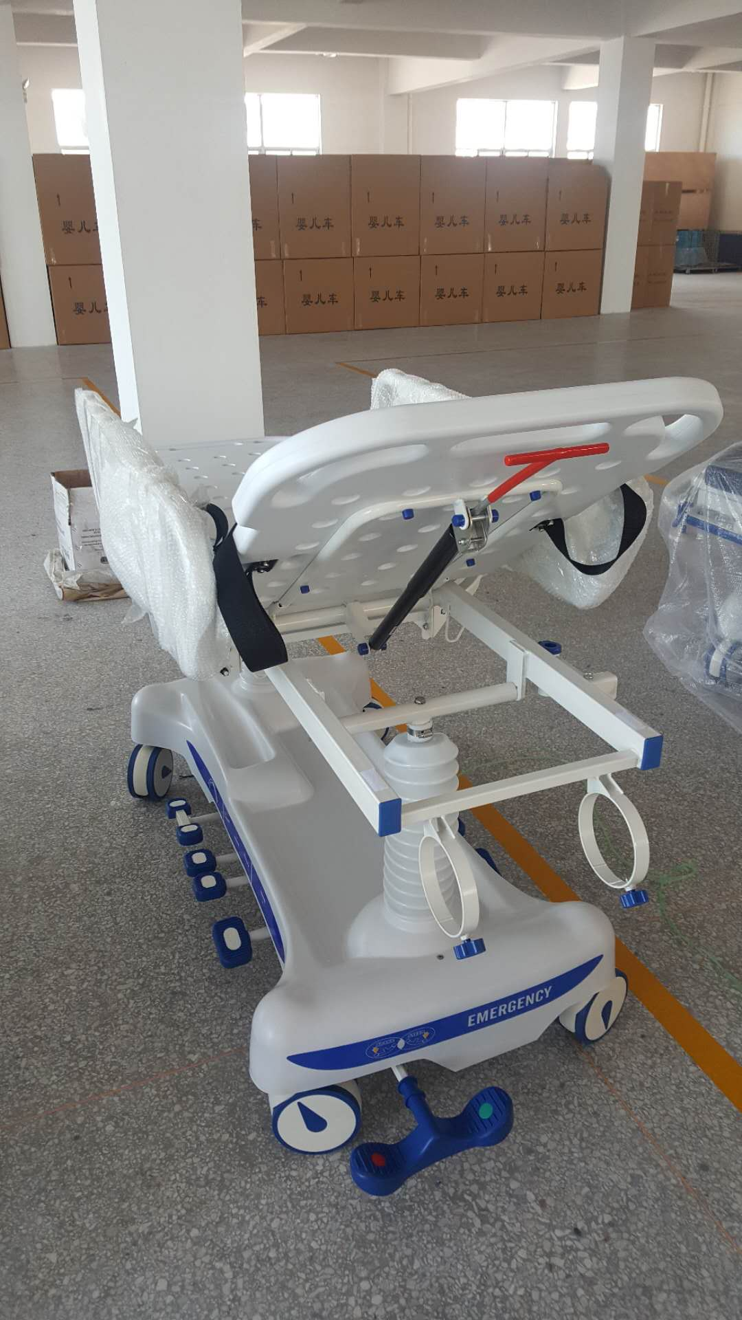 AC-ST018 PP material side rail and bed board Hydraulic Transfer Stretcher