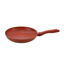 New design Aluminum pressured marble coating fry pan with long handle Stone cooker pan with soft touch stone handle