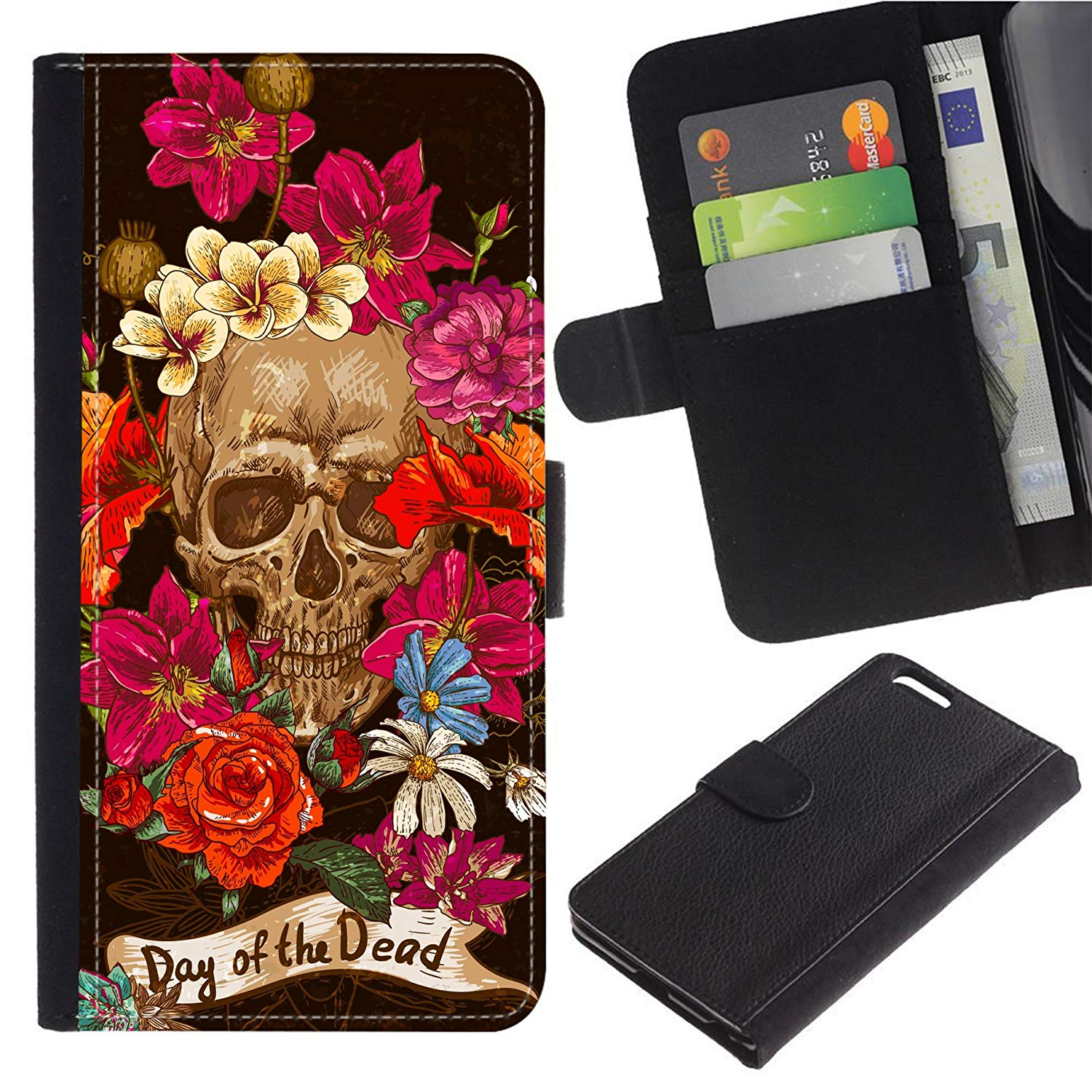 [Vintage Style Floral Skull] For Moto E5 Play/Moto E5 Cruise, Flip Leather Wallet Holsters Pouch Skin Case