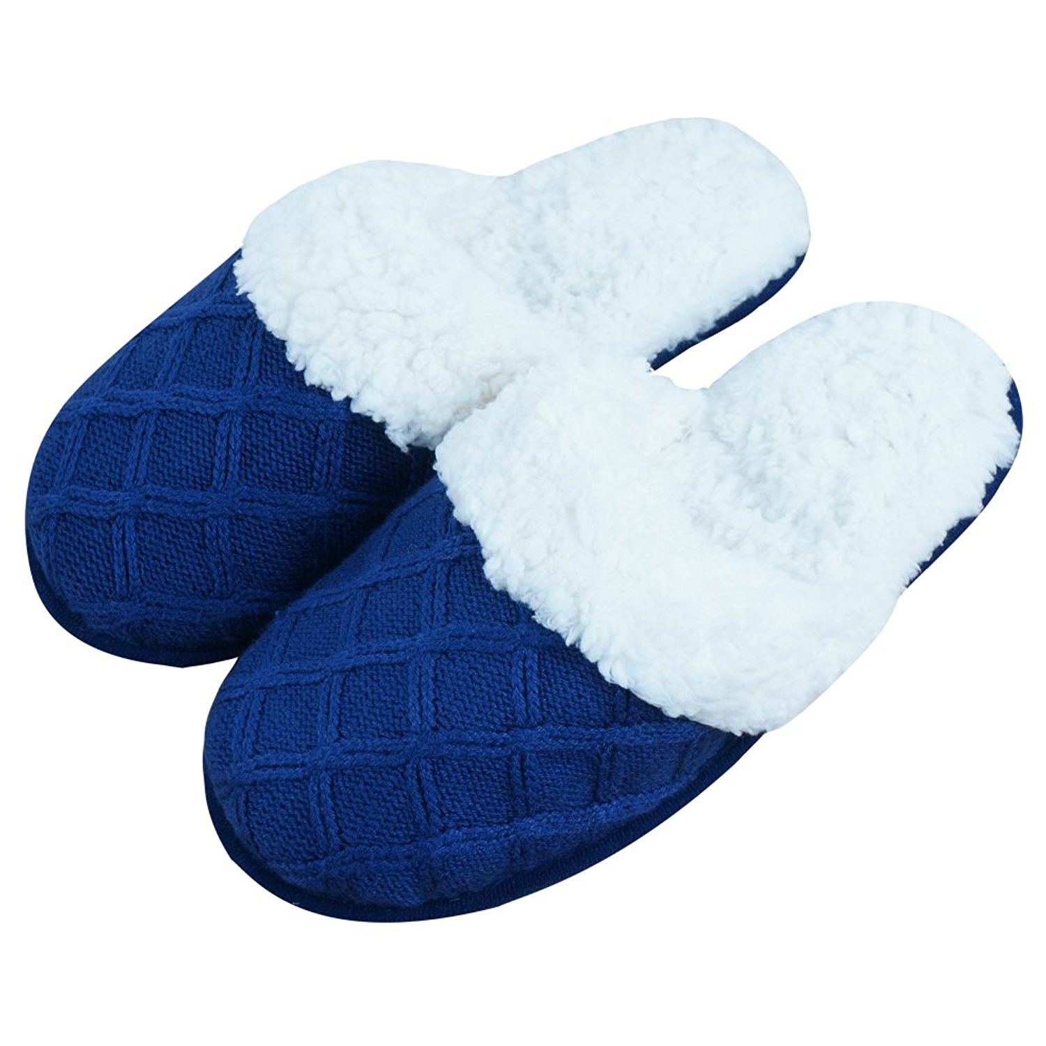 iisutas Women's Slippers With Comfort Memory Foam, House Shoes For Women, Wool-Like Plush Fleece Lined Slippers, Indoor, Outdoor Anti-Skid Sole