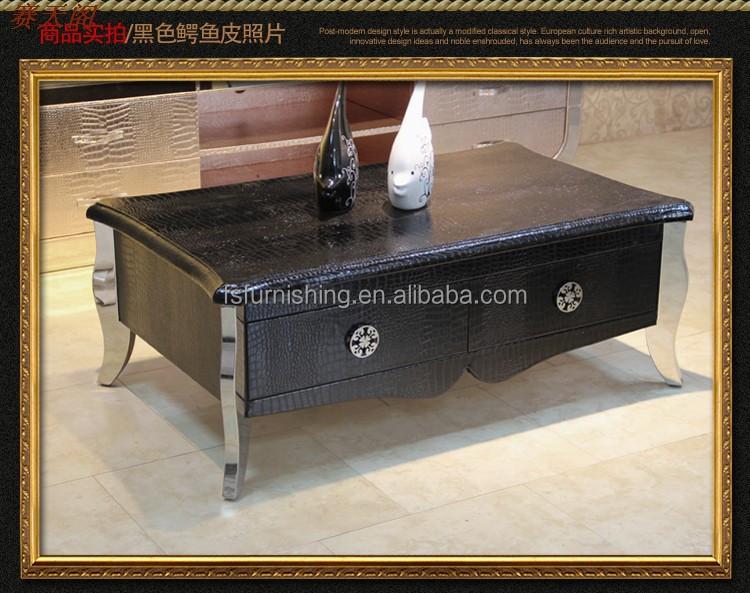Fo136 Chic Moderne Contemporain En Métal De Luxe En Cuir Italien Meubles De  Salon Table Basse Table Centrale Table D\'extrémité - Buy Table Basse ...