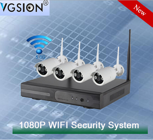 Realtime 1080P 4CH 2MP WIFI Wireless Mobile P2P Security System