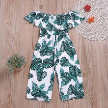 2019 Amazon hot selling off shoulder jumpsuits <span class=keywords><strong>kleding</strong></span> <span class=keywords><strong>trendy</strong></span> leaf prints kids meisjes boutique <span class=keywords><strong>kleding</strong></span> in goede hoeveelheid
