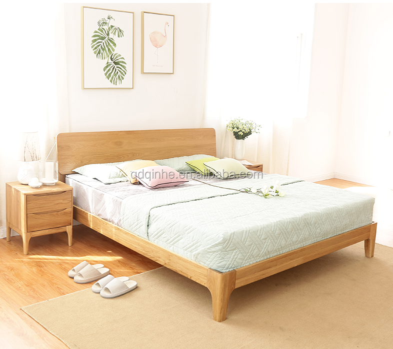 Simple Modern Solid Wood Oak Bed Wooden Queen Size Bed Frame - Buy ...