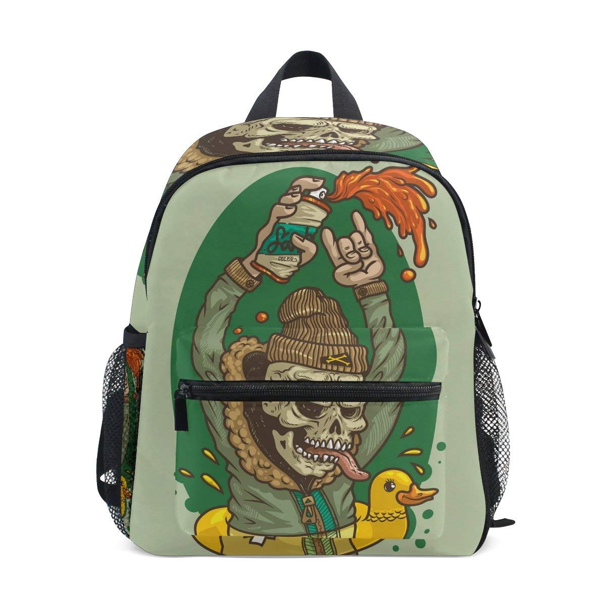 Colorful Skull School Backpack, Waterproof Bag Printing Design Daypack for Travel, School and Sports Shoulder Bag