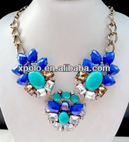 wholesale Luxy fashion crystal charm stone necklace /newest resin Turquoise blue beaded necklaces /chunky chain necklace