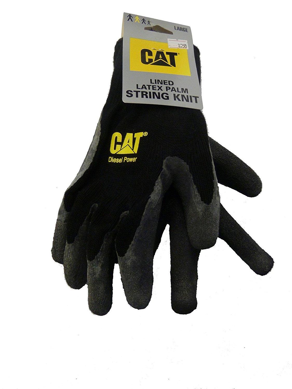CAT Black Latex Palm String Knit Gloves Large