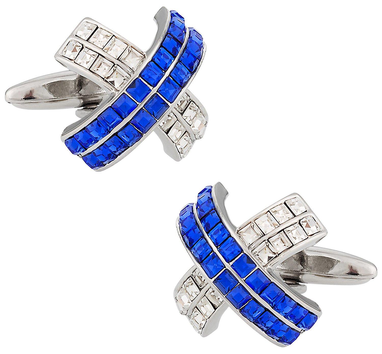 Cuff-Daddy Silver Blue Crystal Cross Cufflinks with Presentation Box