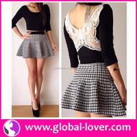 Two piece black and white half sleeve houndstooth ladies modern dress