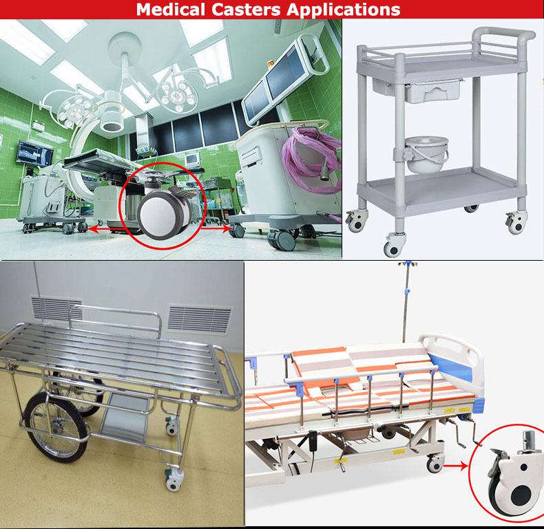 single wheel medical castor hospital caster wheels for bed frame