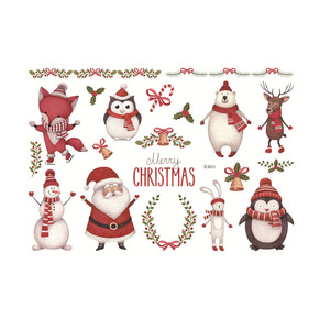 Santa Glow In The Dark Merry Christmas Decorations Window Sticker
