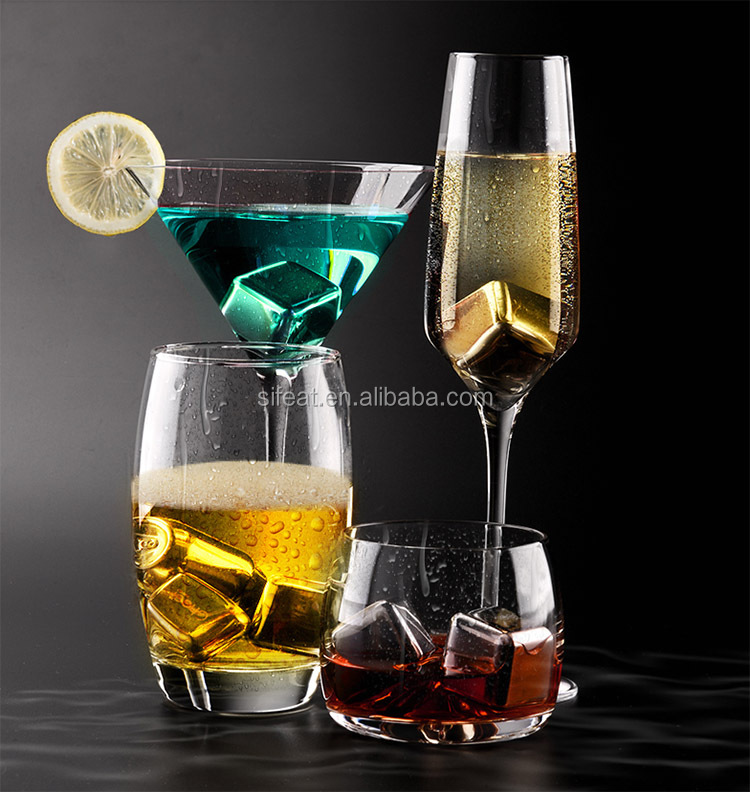 Bar Accessories Stainless Steel Whiskey Stones Ice Cube With Tray