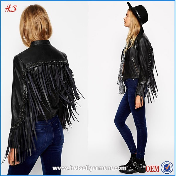 Dongguan Humen OEM Lady Fashion Biker Winter Jacket With Fringe Detail In Leather