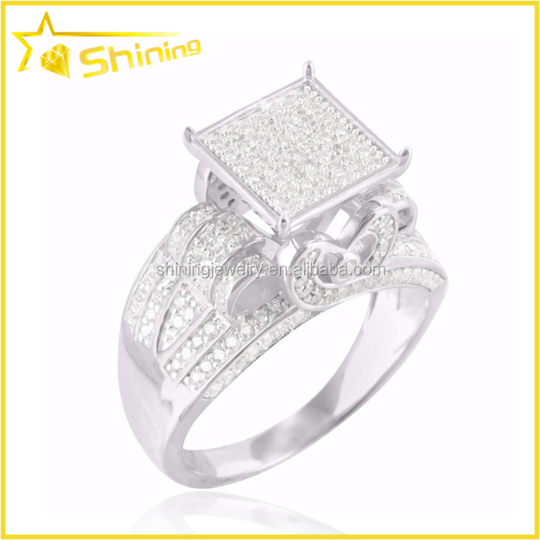 Guangzhou wholesale new design square shaped cubic zircon iced out solid brass stone ring for men