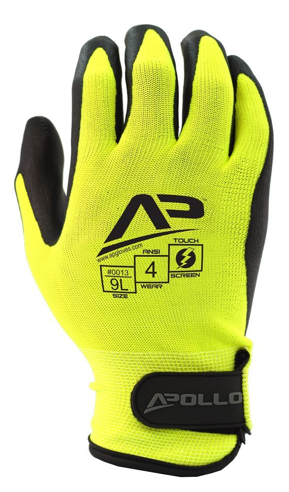 Apollo Performance Work Gloves 12 with Velcro Wrist closure, Tool Grabber Glove with Micro Foam Nitrile, 15 Gauge Nylon/Lycra Knit, Abrasion Protection, Touch Screen Capabilities with Lightning Touch Technology, 1 Pair, Medium, Hi Vis Yellow/Black
