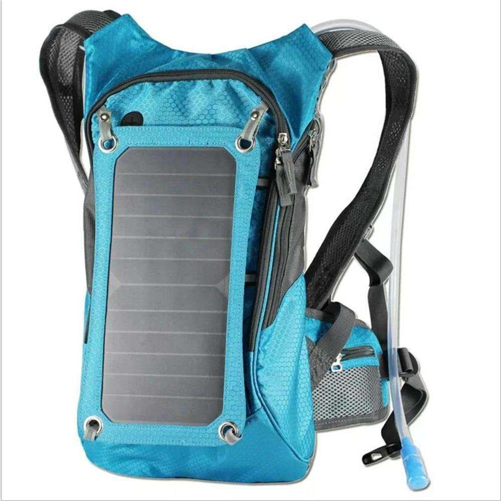 Hydration Backpack With 2L Bladder Bag And 6.5 Watts Solar Powered Panel Charging for iPhone, iPad, SAMSUNG, Mobile Phones, Tablets, And Other 5V Device