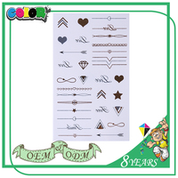 Gold Tattoo Sticker Jewelry Heart Shape Diamond