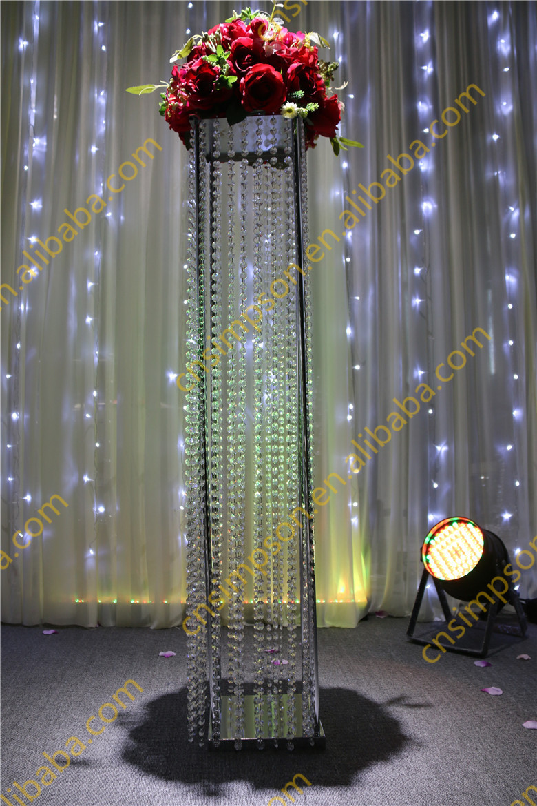Tall Square Crystal Column Wedding Walkway Leading Road