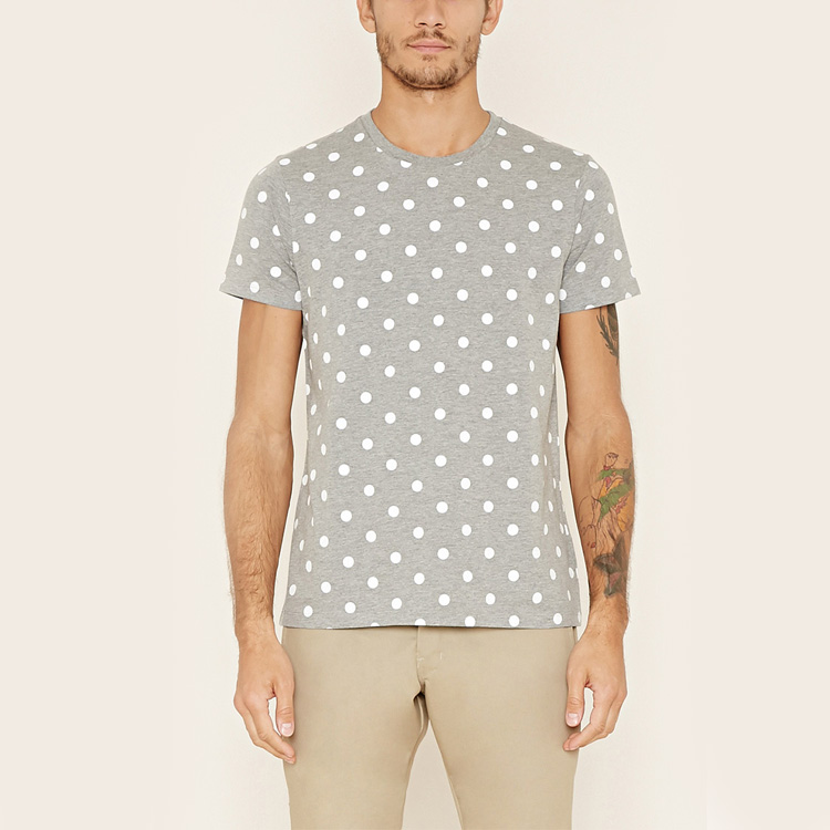 T shirt factory dotted print mens soft touch crewneck casual t shirt