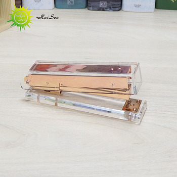 High Quality Acrylic Office Stationery Supplies Stapler Rose Gold Set Tape Card Holder  For Office / School