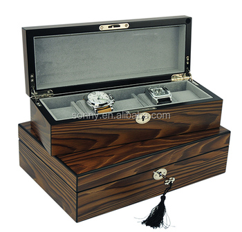 cdbf45a6f1c Walnut High End Luxury Wooden Watch Box For 5 Watches Collection ...