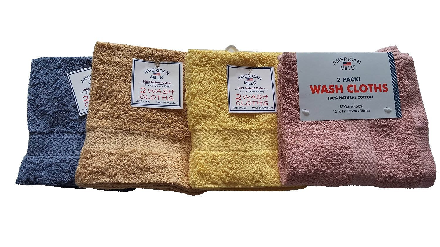 "2 Pack American Mills Deluxe Wash Cloth Set, 12""x12"" , Assorted Colors, 100% Natural Cotton"