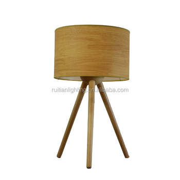Children Tripod Wooden Table Lamp With Fabric Shade Round Edges Safe For Kids