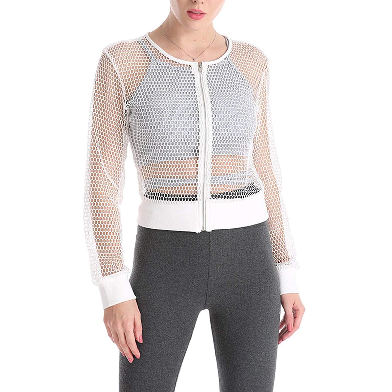 ZXFHZS Mens Long Sleeve Slim Fit Lace See Through Mesh Dress Shirt