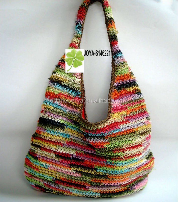 Crochet Straw Beach Bag Tutorial And Pattern : Summer Crochet Bag Colorful Crochet Bag - Buy Hand Crochet ...