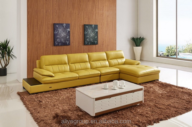 AS112  Orange Leather Sectional Sofa/yellow Leather Sofa