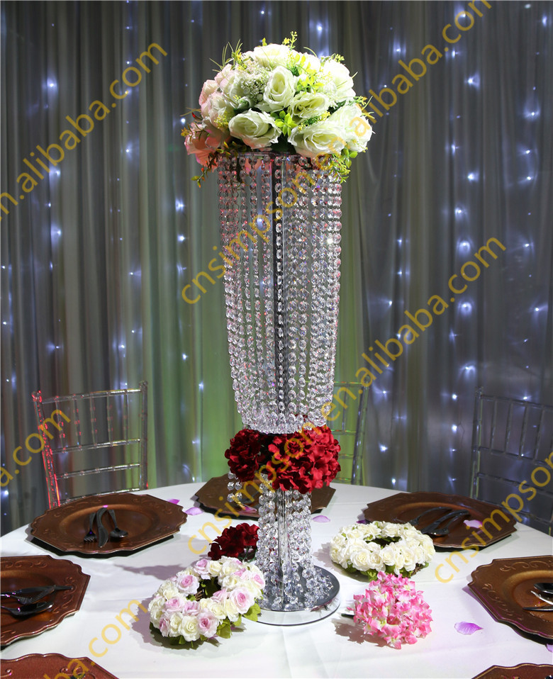 80cm Tall Crystal Chandelier Flower Stand For Wedding Decoration ...