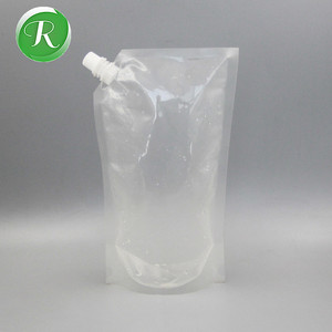 Food grade FDA approved stand-up clear liquid spout pouch/water plastic disposable liquor flask