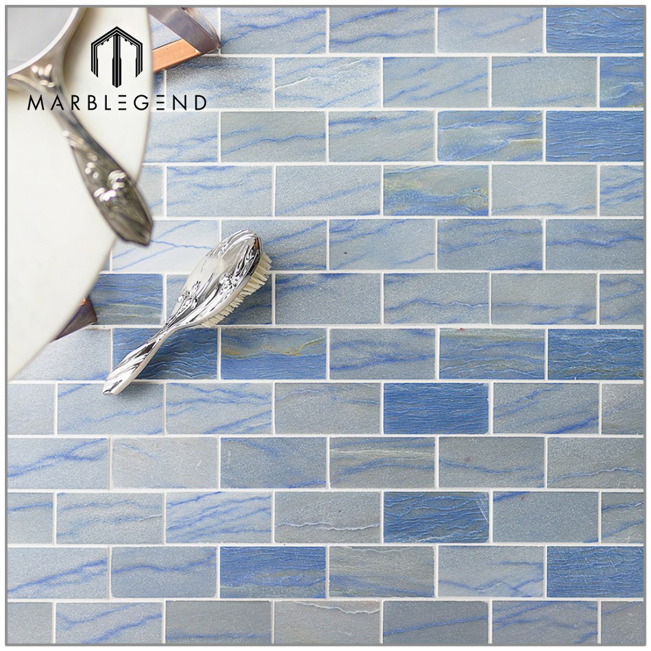 Prefab Wall Design Blue Macauba Polished Stone Mosaic Tile - Buy ...