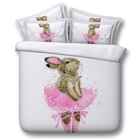 Childrens Ballerina Bunny Hd 3d Bedding Set