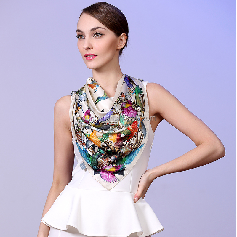 Factory No MOQ Free Sample Custom Digital Print Silk Scarf