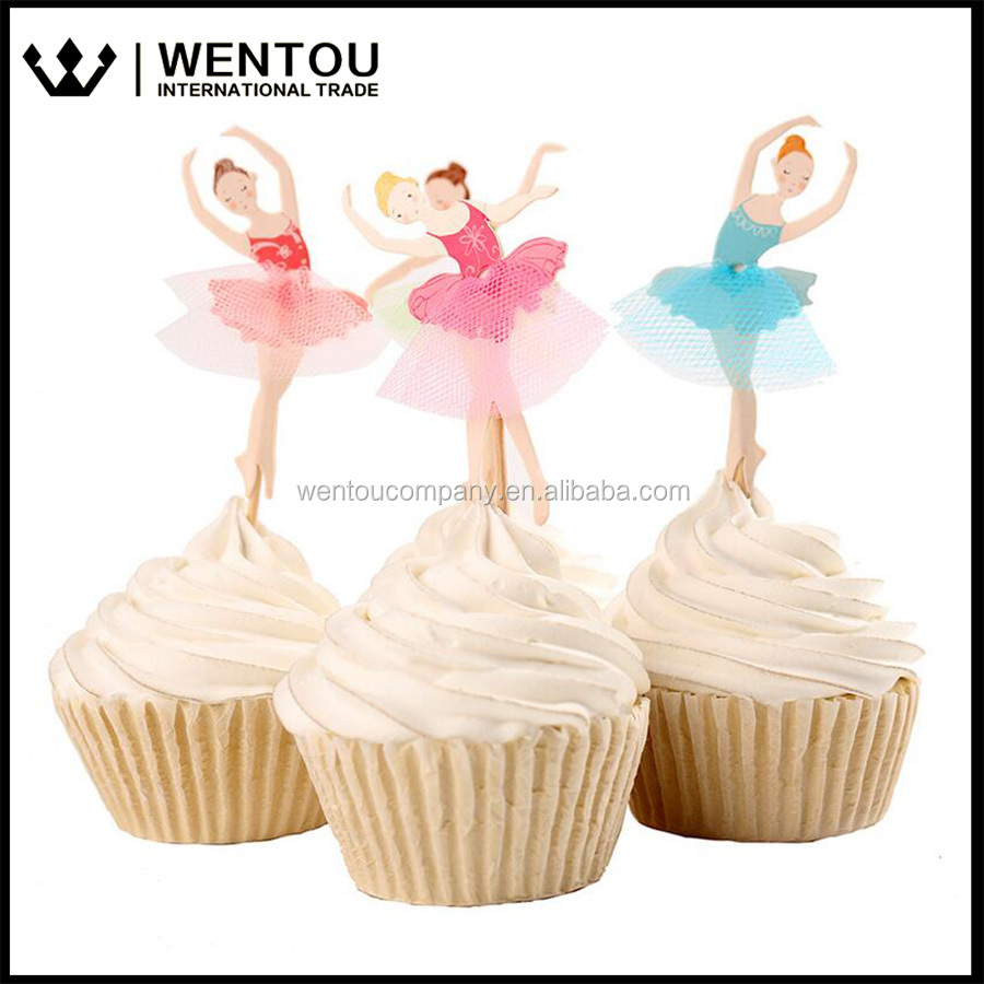 24pcs Ballet Girl Paty Cake Decoration